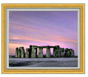 Stone henge F20サイズ 【油絵 直筆仕上げ】【額縁付】 油彩 風景画 オリジナルインテリア絵画 風水画 ゴールド額縁他各種 887×766mm 送料無料