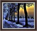 冬の足跡 F30サイズ 【油絵 直筆仕上げ】【額縁付】 油彩 風景画 オリジナルインテリア絵画 風水画 ブラウン額縁 1070×887mm 送料無料