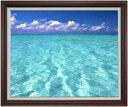 blue on blue F30サイズ 【油絵 直筆仕上げ】【額縁付】 油彩 風景画 オリジナルインテリア絵画 風水画 ブラウン額縁 1070×887mm 送料無料
