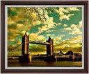 ロンドン橋を眺む F30サイズ 【油絵 直筆仕上げ】【額縁付】 油彩 風景画 オリジナルインテリア絵画 風水画 ブラウン額縁 1070×887mm 送料無料