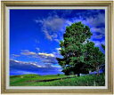 空と木と雲 F30サイズ 【油絵 直筆仕上げ】【額縁付】 油彩 風景画 オリジナルインテリア絵画 風水画 ゴールド額縁 1070×887mm 送料無料