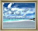 砂浜のミストラル F30サイズ 【油絵 直筆仕上げ】【額縁付】 油彩 風景画 オリジナルインテリア絵画 風水画 ゴールド額縁 1070×887mm 送料無料