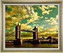 ロンドン橋を眺む F30サイズ 【油絵 直筆仕上げ】【額縁付】 油彩 風景画 オリジナルインテリア絵画 風水画 ゴールド額縁 1070×887mm 送料無料