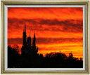 castle of sunset F30サイズ 【油絵 直筆仕上げ】【額縁付】 油彩 風景画 オリジナルインテリア絵画 風水画 ゴールド額縁 1070×887mm 送料無料