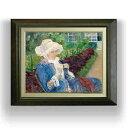 メアリー・カサット Lydia Crocheting in the Garden at Marly F6  【油絵 直筆仕上げ 複製画】【額縁付】 絵画 販売  6号 油彩 人物画 556×465mm 送料無料