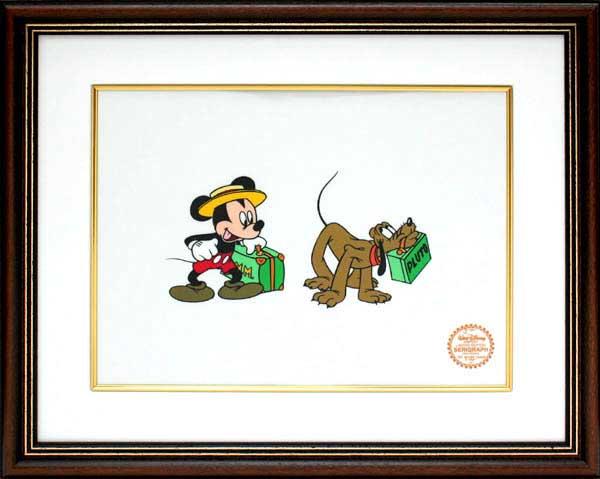 【絵画インテリア】【送料無料】ディズニー・セル画「旅のミッキー&プルート」展示用フック付ポスター【インテリア】【アート】【Disney】【セル画】