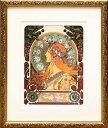 絵画/ミュシャ「ゾディアック」展示用フック付金箔張ミクストメディア【インテリア】【アート】【アルフォンスミュシャ】【アルフォンス ミュシャ】