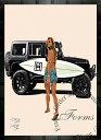 絵画 インテリア ブランドオマージュアート/スターデザイン「ベンツ/ゲレンデ×シャネル/サーフィンe」A1ポスター