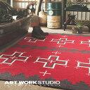 【アートワークスタジオ公式】【ポイント10倍】ラグマット ネイティブアメリカン柄 フルシーズン おしゃれNative rug / Cross(L) ネイティブラグ / クロス柄(L)