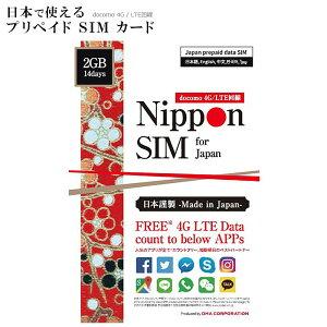 プリペイド SIM カード 人気アプリ使い放題 2GB 14day