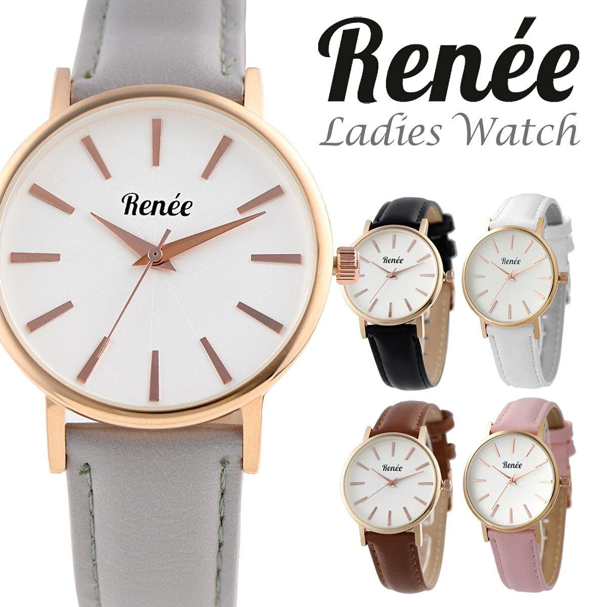 RENEE ルネ R02 腕時計 レディース アナログ クォーツウォッチ おしゃれ シンプル レザー 人気 カジュアル