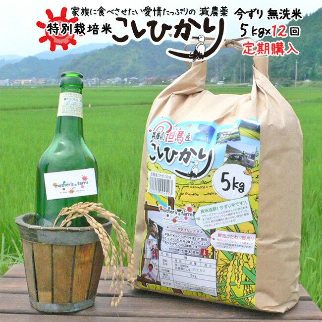 【定期購入】5kgx12回 平成30年産 玄米 白米 今ずり米 無洗米 減農薬・特別栽培米 コシヒカリ