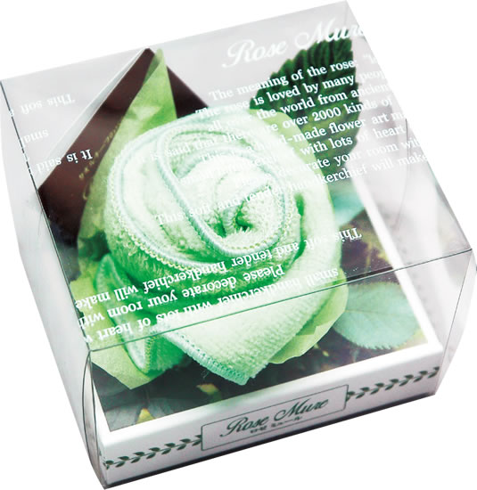 母の日花ギフトプレゼントロゼミュールタオルチーフのバラの花1輪グリーンバラお誕生日プレゼントギフト結