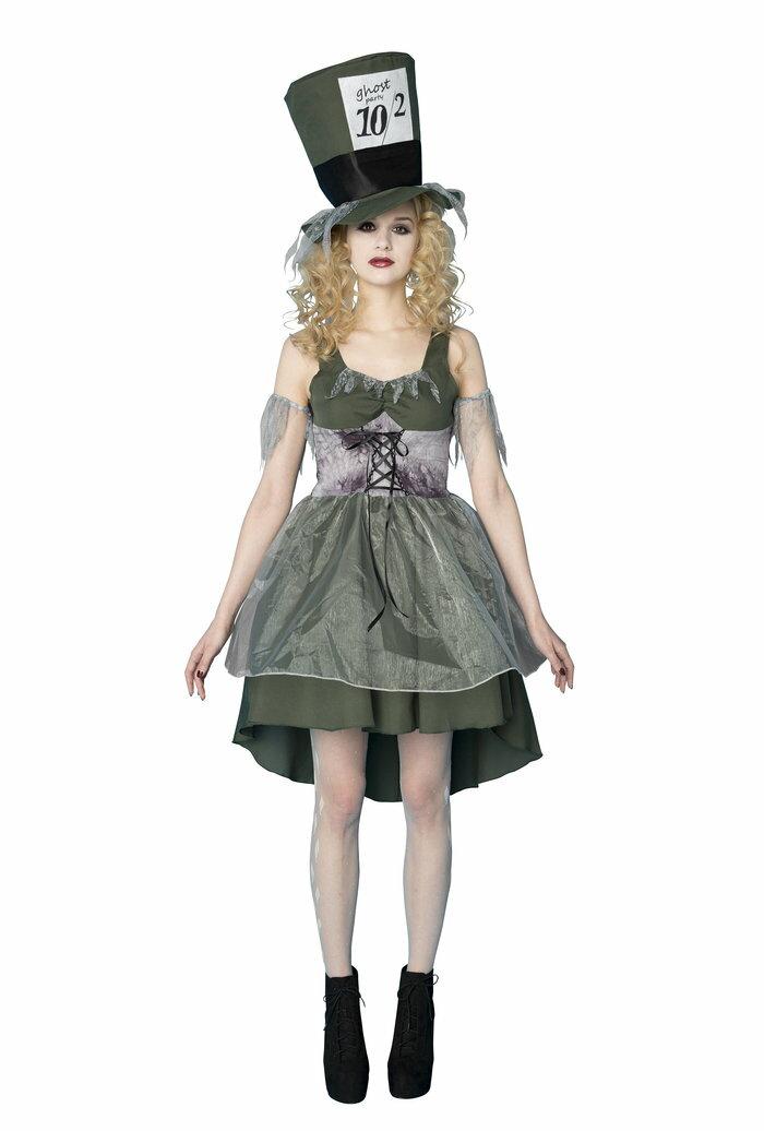 送料無料 ゴースト ハッター 不思議の国のアリス 女性 レディース コスチューム 衣装 変装 ゾンビ 幽霊 コスプレ ハロウィン 仮装