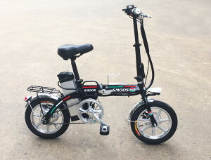 ★軽くて小型折りたたみ★フルアルミ大容量48Vモペット電動自転車SMART-14インチ,スマホホルダー付き