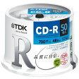 ★CD-R80PWDX50PE TDK LoR データ用CD-R 700MB 48倍速対応 ホワイトワイドプリンタブル 50枚スピンドル