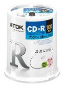★CD-R80PWDX100PE TDK データ用CD-R 700MB 48倍速対応 ホワイトワイドプリンタブル 100枚スピンドル