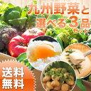 楽天朝ごはん本舗【送料無料】選べる野菜セット 九州野菜7〜9品+卵、牛乳、納豆、豆腐、梅干しからお好み3品を選べます