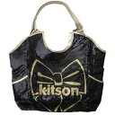 [immediate delivery] [free shipping] non-arrival in Japan! LA NY-limited! Extreme popularity Kitson spangles tote bag Kitson LA - Black Kitson Bow Sequin Tote black X gold ribbon spangles tote bag