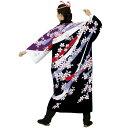 よさこい 長半纏 白 黒 紫 桜 (o7947) 送料無料 よさこい 衣装 祭り 衣裳 イベント まつり 袢纏 半纏 袢天 はっぴ はんてん 【お取り寄せ商品】