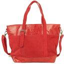 ショッピングフェアトレード スウェード×山羊革 ワーキングバッグ(赤)