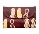 ショッピングフェアトレード 山羊革 フラップ付き二つ折り財布 ピーナッツ(こげ茶) ヤギ革【フェアトレード】