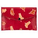 ショッピングフェアトレード 山羊革 財布パース 犬おさんぽ柄(赤) ヤギ革【フェアトレード】