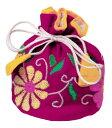 ミラー刺繍 ジュエリーポーチ(ピンク)