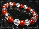 芦屋ルチル/赤メノウ×ラウンドカット水晶/天然石パワーストーンブレスレット8mm/P19Jul15