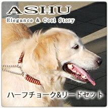 ハーフチョーク大型犬ASHUステップリードセットLラブラドールバーニーズナイロンテープペットリードペ