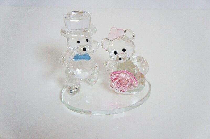 クリスタルカット クマ くま フラワーリボン 新郎新婦 結婚 引き出物内祝いに ベアー 置き物 熊2匹