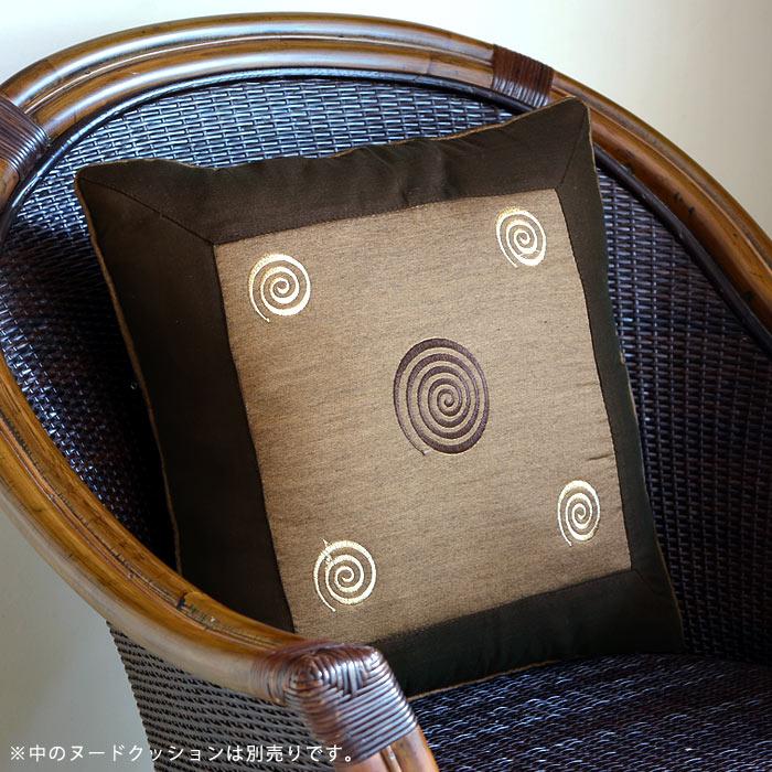 【メール便対応】レトロな渦巻きの刺繍が可愛い アジアン クッションカバー40x40cm[ブ…...:asia-kobo:10003616
