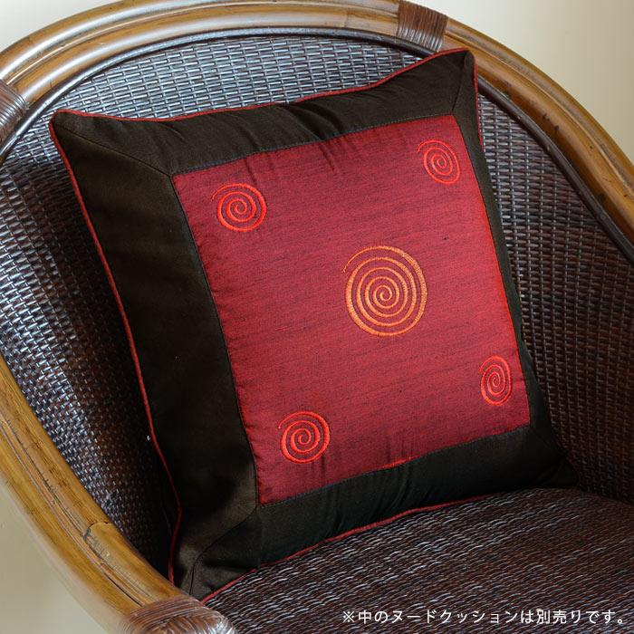 【メール便対応】レトロな渦巻きの刺繍が可愛い アジアン クッションカバー40x40cm[レ…...:asia-kobo:10003617