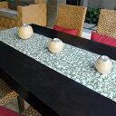 ウォーターヒヤシンスで出来た可愛い模様のテーブルランナー[ホワイト×ターコイズ][10