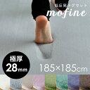 【送料無料】低反発ラグマット【極厚28ミリ】モフィネ [強力滑り止め付] [約185cm×185