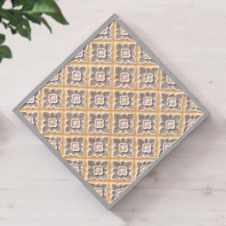 ウォールレリーフ木彫り風花モチーフ背面フック付き正方形約305cm×305cm[13588]ウォール
