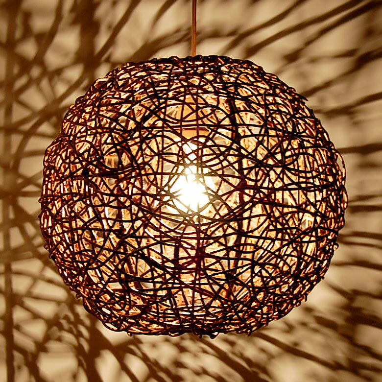 【LED電球対応】アジアン照明 ラタンのペンダントライト[ビッグボール][ブラウンウォッシ…...:asia-kobo:10001013