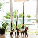 しっぽのながい木彫りバリネコ 大 中 小 3匹セット[9221]【木彫りの動物 バリ島のネコ ねこ