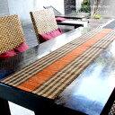 ウォーターヒヤシンスで出来たボーダー柄の可愛いテーブルランナー オレンジ[10836]【