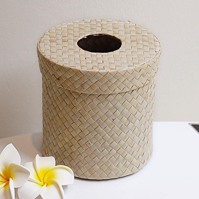パンダンで編まれた丸い アジアン トイレットペーパーケース[ナチュラル色][8406]【ト…...:asia-kobo:10002403