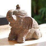おすわりをしたカワイイ象のアンティーク調石像[9748]【バリ雑貨・アジア雑貨・アジアン雑貨】【バリ島の彫刻・石像】