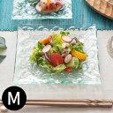 プルメリアをモチーフにした涼しげなガラスプレート[約16.5x16.5cm][62222]【おしゃれ