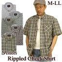 チェックシャツ メンズ 半袖 綿混 / ボタンダウン リップル生地 M-LL