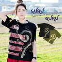 ブリーチプリント Tシャツ アジアン ファッション エスニック レディース カットソ