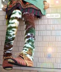 タイダイくしゅくしゅレギンス【ゴアオリジナル】美脚効果抜群の超人気ブーツカットレギンスコットンヨガレギンススパッツヨガパンツ美脚ストレッチエスニックファッションゴア高身長アジアンセール送料無料【RCP】■1.5