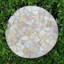 石を埋め込んだステップストーン レッドモザイクの踏み石 直径40cm