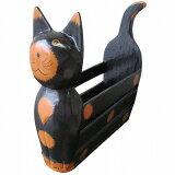 バリ猫マガジンラック 木彫りの置物 ブラック