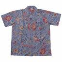 バティックシャツ 半袖シャツtype-V トラディショナル パープル  【メール便OK】