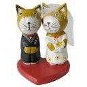 バリ猫の結婚式 ウェディングネコ 木彫り猫の置物