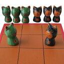 バリネコ VS カエル のチェスバリ猫 蛙の木彫りの置物